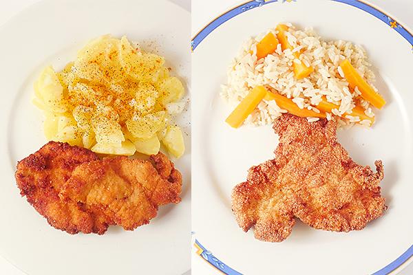 Schnitzel mit Reis oder Salat