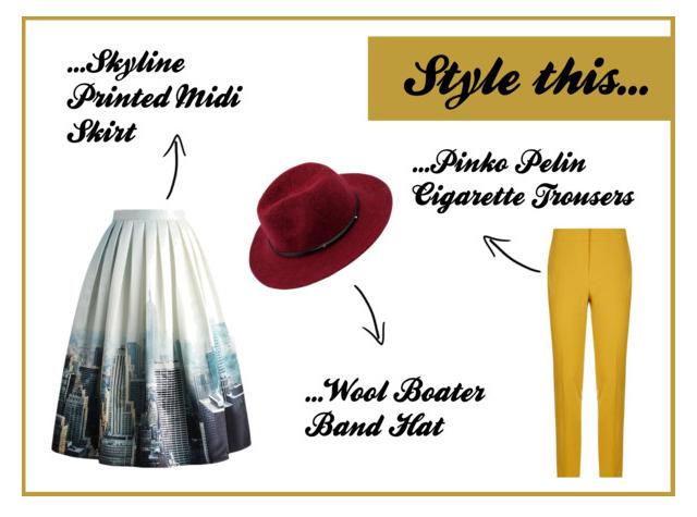 Style this… Midi Skirt; Stoffhose und Wollhut