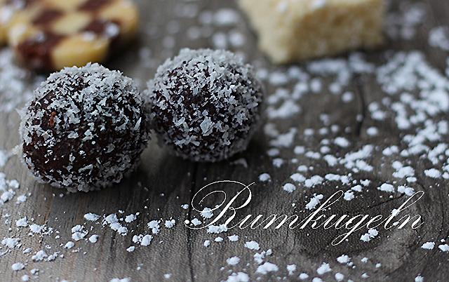 Rumkugeln und eine Alternative mit Datteln und weißer Schokolade