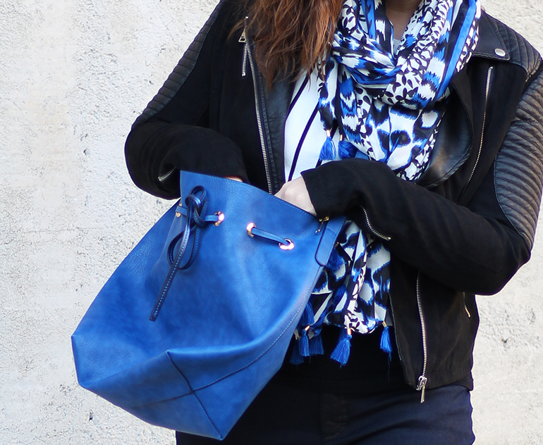 Black Leather and Blue Bag