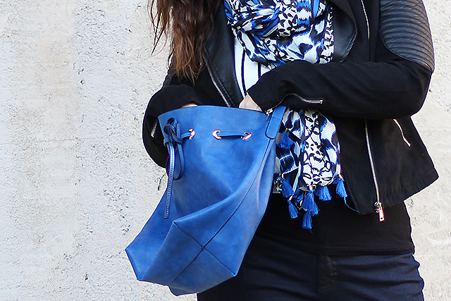 Black Leather Jacket, Blue Bag, Shirt with Stripes
