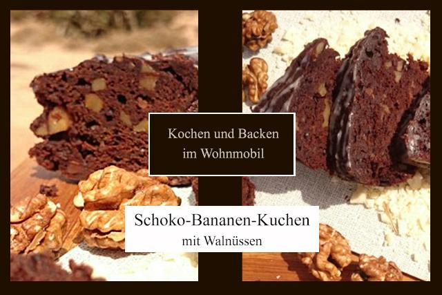 Kochen und Backen im Wohnmobil Schoko-Bananen-Kuchen