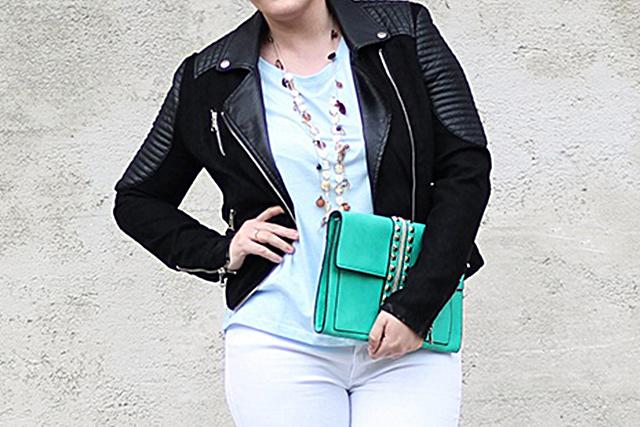 Blue Shirt Black Leather Jacket