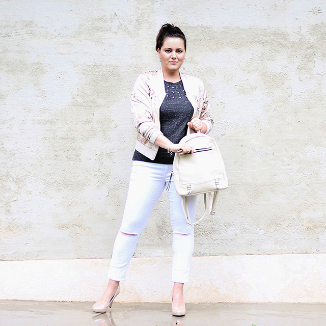 Bomberjacke Outfit Jeans