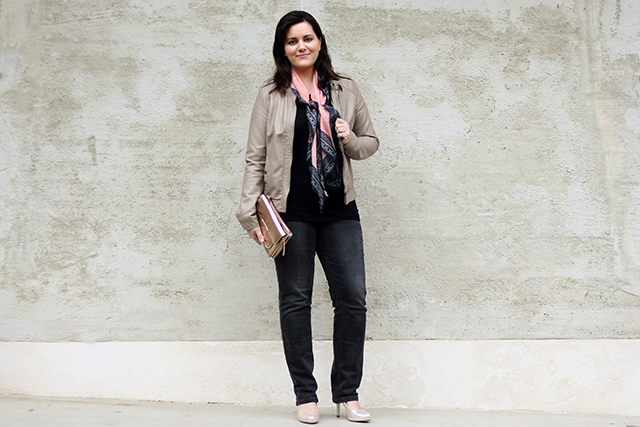 Spring Scarf and Grey Leather Jacket