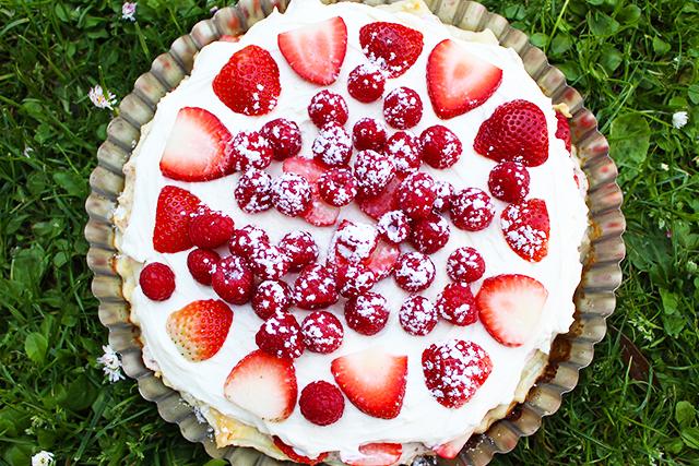 Himbeer Erdbeer Blätterteig Kuchen