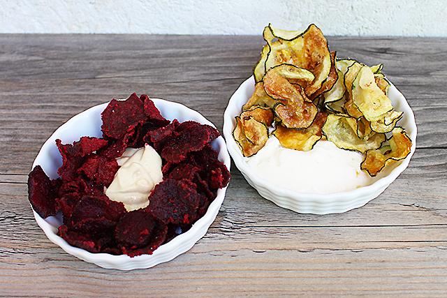Gemüsechips selbstgemacht und köstliche Dips