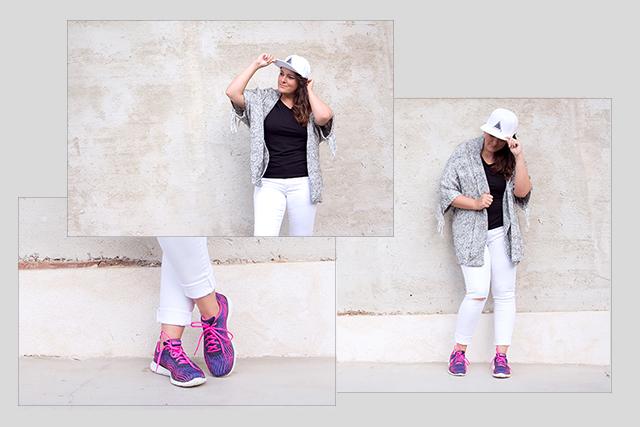 Sportlich lässiges Outfit mit Fransencardigan, Eyecatcher Skechers und Jeans