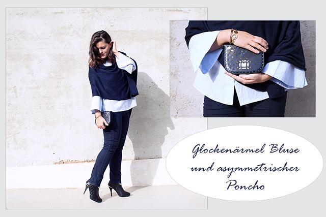 Herbst Look – Glockenärmel Shirt und asymmetrischer Poncho