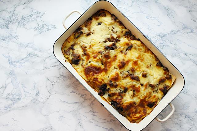 Kürbis-Champignon Lasagne