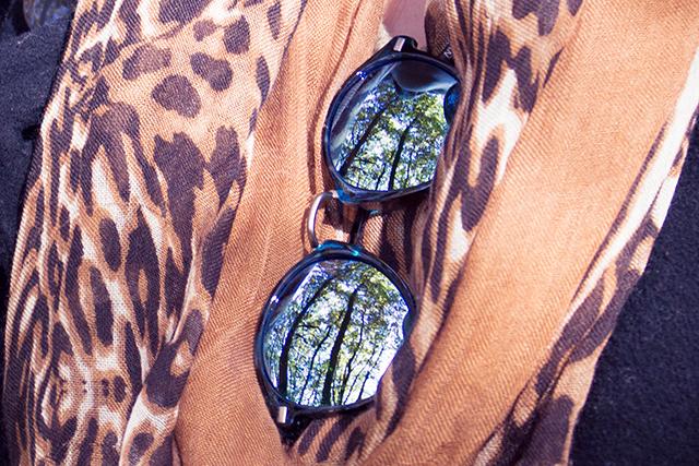 Sonnenbrillen und Animalprintschal