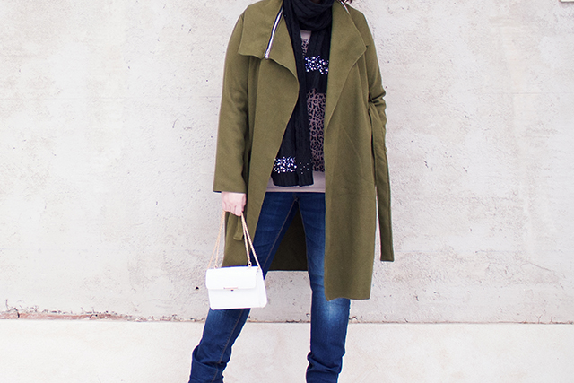 Green Coat, White Bag