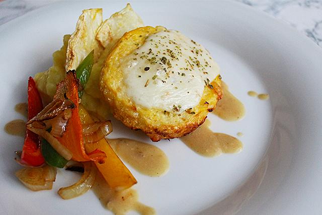 Karfiollaibchen mit Kartoffelpüree und Gemüse