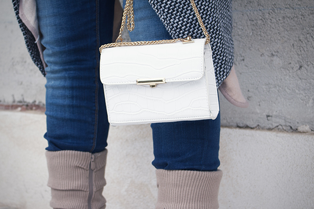 White Bag, Blue Denim, Layering Look