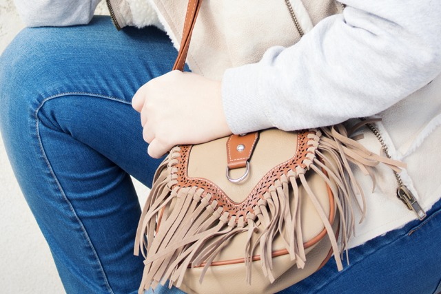 Fringe Bag, Denim, Fake Fur