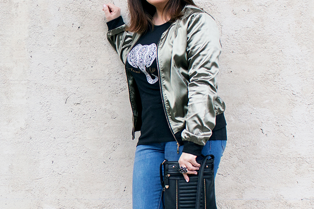 Black Shirt with Elephant Print, Green Bomber Jacket