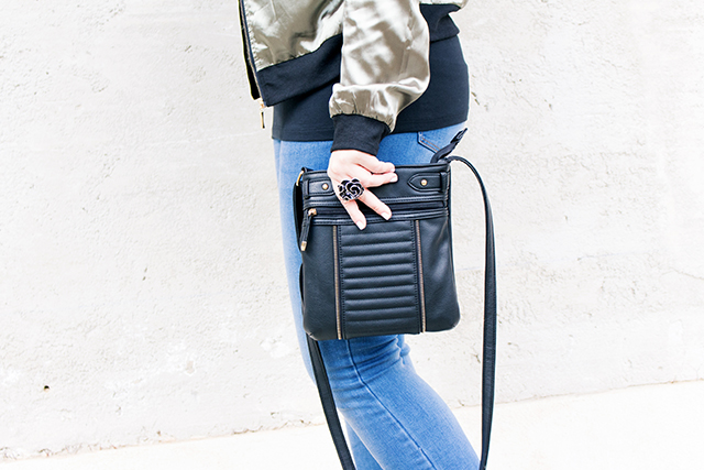 Bomber Jacket, Jeans, Bag