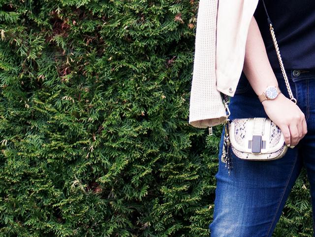 Frühlingsjacke, Jeans im Used Look, klassische Pumps und eine schicke Mini Bag