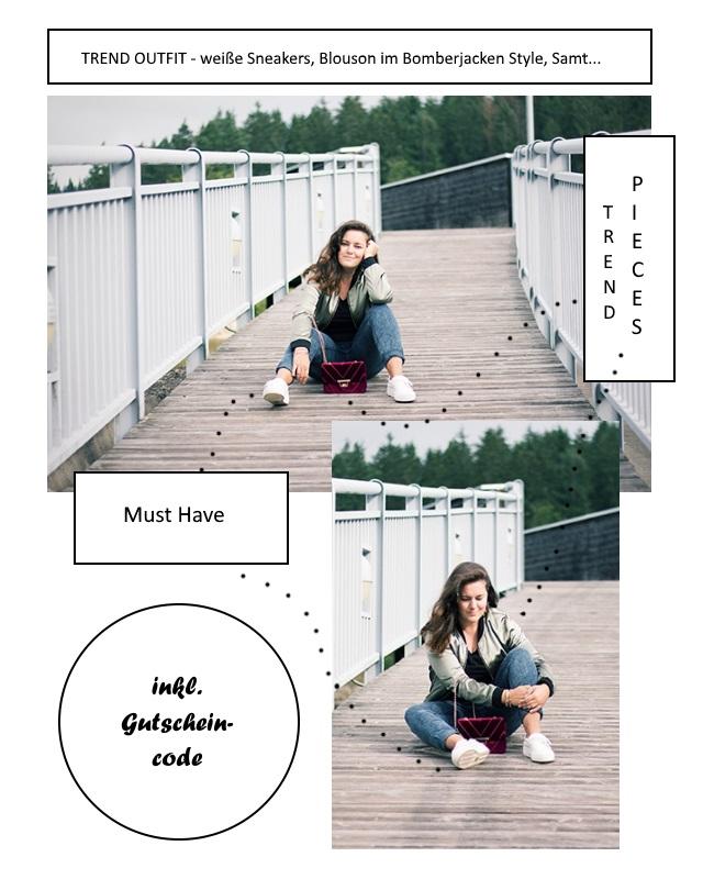 Trend Outfit – weiße Sneakers, Blouson im Bomberjacken Style und Samttasche
