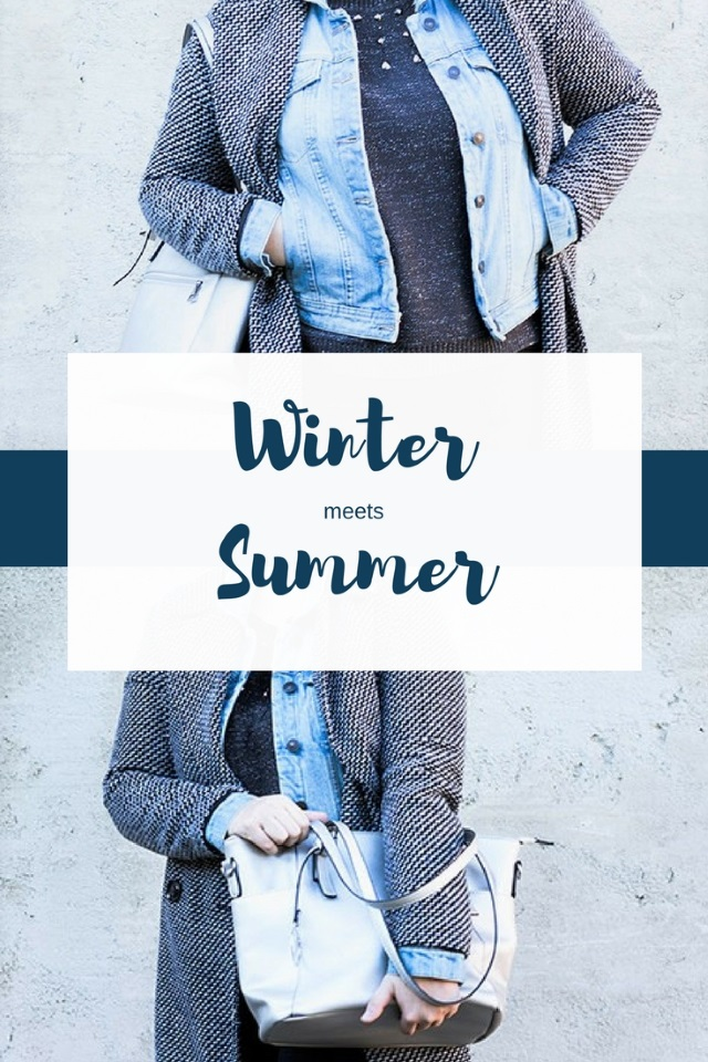 Winter Meets Summer – Karomantel und Jeansjacke