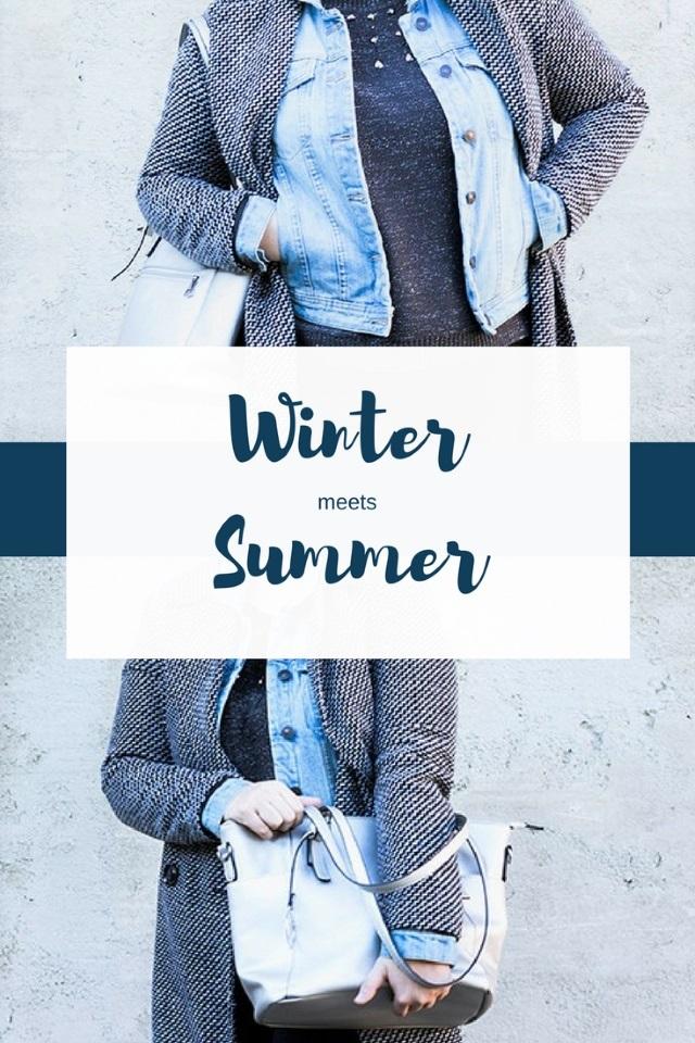Winter Meets Summer – Karomantel und Jeansjacke