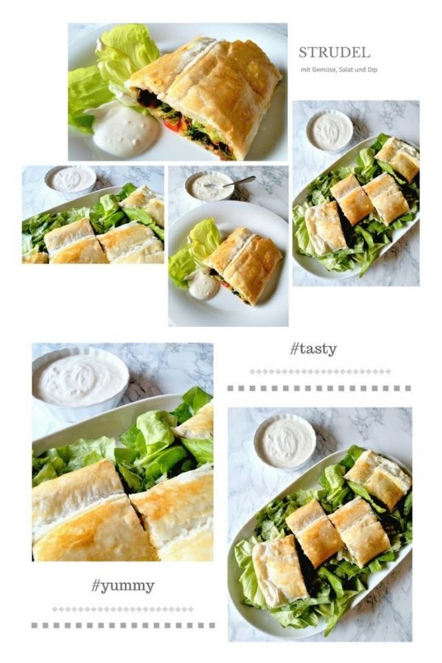 Strudel mit Salat, Gemüse-Füllung und Joghurt Dip