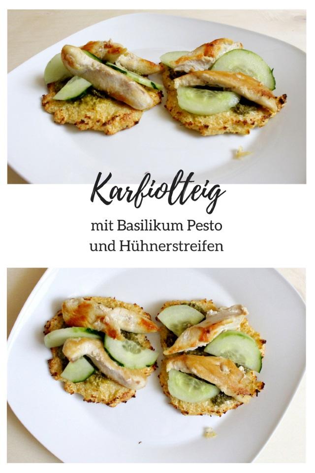Karfiolteig mit Hühnerstreifen, Gemüse und Pesto