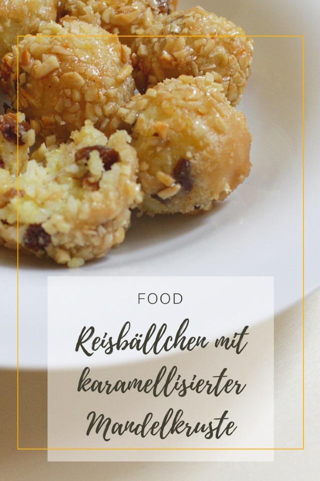 Reisbällchen mit Rum-Rosinen und karamellisierter Mandelkruste