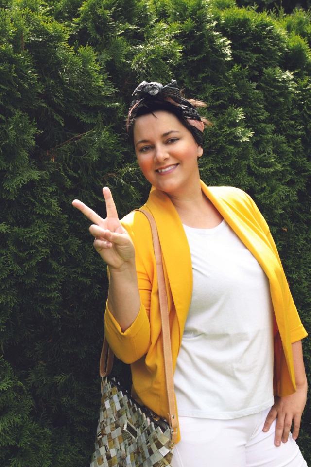 Mein Sommer Outfit mit gelbem Blazer und white Denim